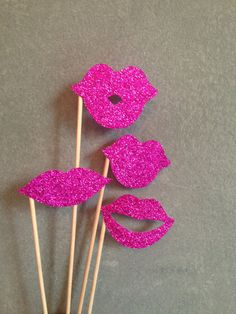 8 Glitter Lips PhotoBooth Props Set - Pink Glitter - Girls Set - Wedding, Bridal Showers, Parties, Baby Shower, Glitter Photo Booth Props