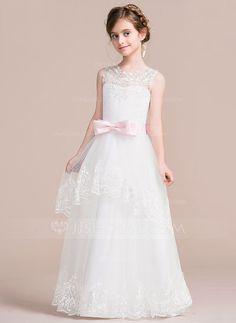 [US$ 61.99] Ball Gown Floor-length Flower Girl Dress - Satin/Tulle Sleeveless Scoop Neck With Sash/Appliques/Bow(s)/V Back