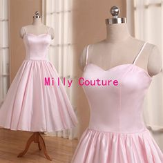 Pale pink tea length bridesmaid dress with by MillyCouture on Etsy