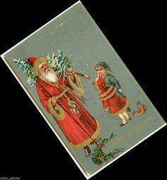 C685 GERMAN ST. NICK CHRISTMAS TREE STAFF GIRL PULLS TOY SLED DOLL 1908 POSTCARD #Christmas