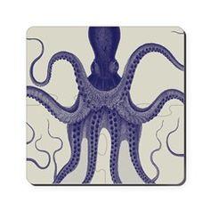 Antique Vintage Octopus Cork Coaster
