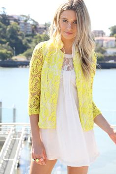 hot sales 88d0d 9ebdc Yellow Pop Crochet Blazer Amarillo Brillante, Estilo, Combinaciones,  Favoritos, Vestidos Cortos,