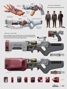 Laser Rifle concept art from Fallout Fallout Art, Fallout New Vegas, Fallout 4 Concept Art, Fallout 4 Weapons, Fallout Props, Sci Fi Weapons, Weapon Concept Art, Game Concept Art, Fantasy Weapons