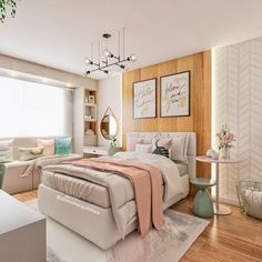 The result of a project that we developed at a distance, for a client who lives . Room Design Bedroom, Girl Bedroom Designs, Bedroom Layouts, Small Room Bedroom, Room Ideas Bedroom, Home Room Design, Home Decor Bedroom, Bedroom Plants, Bedroom Decor For Teen Girls