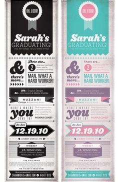 Image of graduation invitation that is long and rectangle shaped. One is black and white, and the other is turquoise, purple and pink. They ...