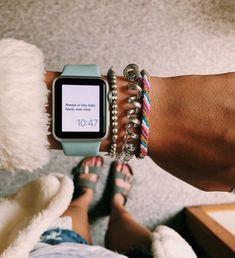 Apple Watch Series 3 (GPS, - Space Gray Aluminum Case with Black sport Band Apple Watch Band, Apple Watch Bracelets, Apple Watch Faces, Watch Bands, Summer Bracelets, Mickeal Kors, Cute Jewelry, Jewelry Accessories, Estilo Converse