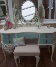 SHABBY CHIC KIDNEY SHAPED LOUIS FRENCH STYLE TRIPLE MIRROR DRESSING TABLE | eBay