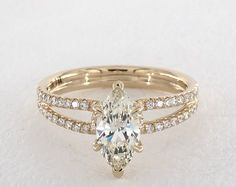 Marquise, Sophisticated Ribbon Pave Split Shank Engagement Ring in Yellow Gold by James Allen® Split Shank Engagement Rings, Yellow Engagement Rings, Engagement Ring Settings, Vintage Engagement Rings, Wedding Rings Vintage, Diamond Wedding Rings, Bridal Rings, Diamond Rings, Morganite Engagement