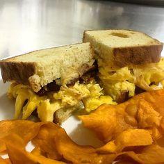 "@chefbradleygriffin: ""@cheshirepork bacon scrambled farm eggs @kennyscheese chipotle Colby on house made brioche #brunch @harvesttablemeadowview #food #farmtofork #loveva #truecooks #truecooksstreetteam"""