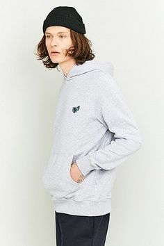 Shore Leave by Urban Outfitters Rose Embroidery Grey Marl Hoodie
