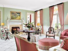 Traditional Pink And Green Living Room