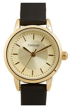 This gold everyday watch from Topshop with a black leather strap would be cute worn alone or stacked with bracelets.