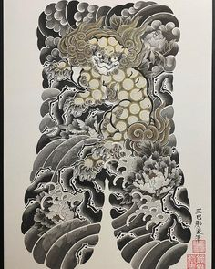 Tattoo Japanese Style, Traditional Japanese Tattoos, Japanese Sleeve Tattoos, Body Tattoos, Tatoos, Fu Dog, Asian Tattoos, Irezumi Tattoos, Tattoos With Meaning