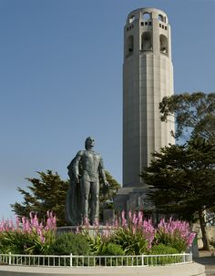 Coit Tower and Columbus Statue Coit Tower San Francisco, San Francisco Travel, San Francisco California, San Fransisco, California Travel, Northern California, Culture Travel, Amazing Architecture, City