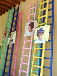 colorful ladders. . . oh, I need to paint mine!  love the colorful look . . . maybe hang old ties and wide vintage trims in the craft room (and a pic or two :) . . .