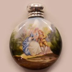 Romantic Antique Sterling Silver and Porcelain Scent Bottle Fully Hallmarked