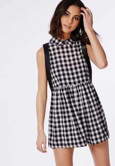 Gingham Smock Playsuit Monochrome - Missguided