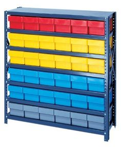 Storage Bin Unit Open 18 x 36 x 39 with 18 QED602 and 27 QED604 RED Bins by Quantum. $669.07. . More economical solutioncompared to higher coststeel drawer units. Save time locating parts using our tough Euro Drawers with our sturdy open or closed steel shelving. 36 wide x 75 or 39 high units offer heavy duty, high grade shelving with a 400 lb. capacity per shelf. Shelving is gray, drawers are available in Blue, Yellow, Gray or Red.Dust Free& SecureStorage! More ec...