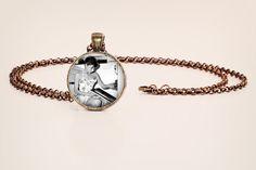 Audrey Hepburn: The Baker - Black and White Vintage Style Photo Pendant Necklace
