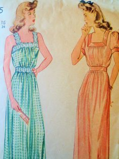 Vintage Simplicity 4845 Sewing Pattern, 1940s Nightgown Pattern Sleepwear Pattern Bust 34, Vintage Sewing 40s Sewing Pattern, Vintage Sewing