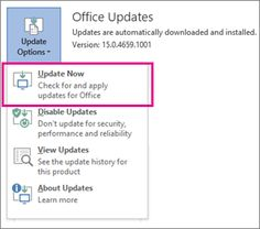 Update Office 2013 or Office 365