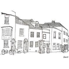 A Row of Odd Houses - 6 x 8. $15.00, via Etsy.