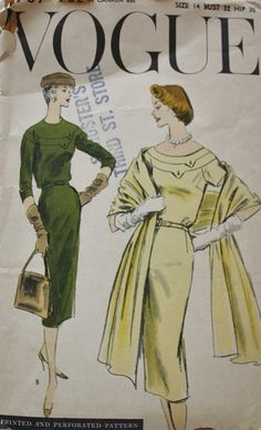 50s Vogue 8907 One Piece Dress and Stole Vintage Pattern Size 14 Bust 32 on Etsy, $48.00