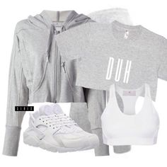"""Duh"" tee via teamxirix.com ($25, link in bio. Styled here as a crop), Adidas by Stella McCartney hoodie ($190) and sports bra ($68), BodyCentral leggings ($10), Nike huaraches ($180) xx"