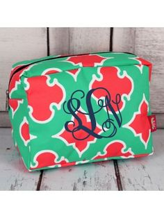 www.ewam.com Mint and Coral Moroccan Geometric Cosmetic Case