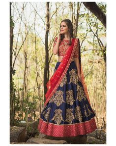 Beautiful royal blue color lehenga and red color designer blouse with red color net dupatta. Lehenga and blo use with hand embroidery gold thread and zardosi work. Meenakshi collection of Mrunalini Rao . Half Saree Lehenga, Red Lehenga, Lehenga Style, Lehenga Blouse, Bridal Lehenga, Sari, Choli Designs, Lehenga Designs, Blouse Designs