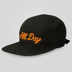 Upper Playground - All Day 5 Panel Strap Back Cap in Black