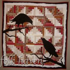 Two Crows on a Log Cabin Quilt