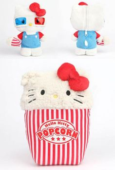 #HelloKitty goes to the movies and brings her own popcorn!  #Supercute and yummy reversible plush!!!
