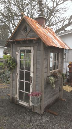 Rustic Garden Shed. Perfect for what you need it for! Rustic Garden Shed. Perfe… - Garden Shed Shed Conversion Ideas, Rustic Shed, Greenhouse Shed, Cheap Greenhouse, Portable Greenhouse, Backyard Greenhouse, Pump House, Storage Shed Plans, Diy Storage
