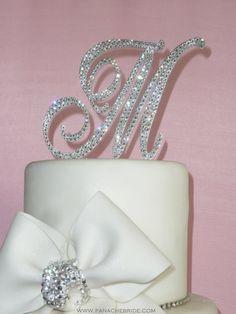 Monogram Wedding Cake Topper Crystal Initial Any Letter