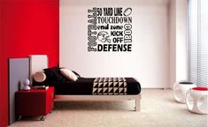 FOOTBALL COLLAGE SUBWAY LETTERING DECAL WALL VINYL WORDS STICKER ROOM SPORTS KID #Oracal