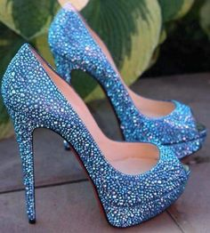 Blue Sequin Heels  Tsaa Heel
