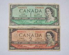 1954 Canada 1 and 2 Dollar Banknotes