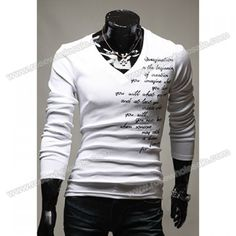 Wholesale Casual Style V-Neck Letter Embroidered Long Sleeves Polyester T-Shirt For Men (WHITE,L), T-shirts - Rosewholesale.com