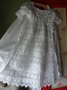 ANTIQUE  CHRISTENING GOWN BRODERIE ANGLAISE WHITE &  WHITE Work