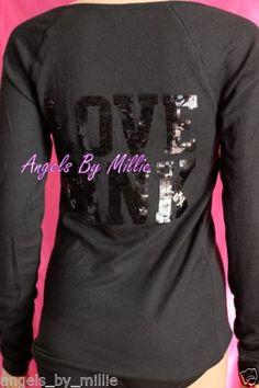 Victoria's Secret Pink M Medium Black Bling Ribbed Knit Jersey Shirt Sequins New | eBay