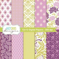 Digital Scrapbook Papers and Digital Paper por hazyskiesdesigns, $5,00