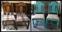 Reupholstered and Redesigned Vintage Chair set!
