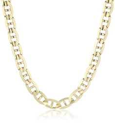 Men's 14k Yellow Gold 7.5mm Mariner Chain Necklace, 24″
