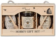 Afternoon Tea Honey Gift Box - 3 honeys that are perfect to add to tea. Blueberry Honey (green teas, English Breakfast, and Earl Grey); Wildflower Honey (Herbal Teas and Green Teas); Orange Blossom (great for any tea! Honey Packaging, Jar Packaging, Craft Packaging, Honey Label, Honey Shop, Bee Gifts, Wooden Gift Boxes, Honey Recipes, Bee Design