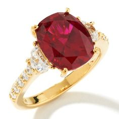 Jean Dousset 4.70ct Absolute™ and Created Ruby Cushion Ring at HSN.com