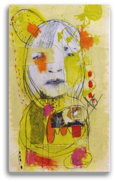 """Original Mixed Media Textile Collage Painting by Christina Romeo Title: """"To Be…"""