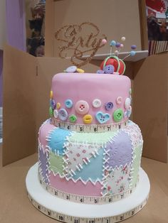 Patchwork button cake