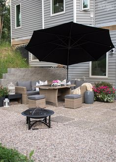 Modern French Country DIY Patio - DIY pea gravel patio