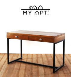 """Custom Furniture Series:  """"A desk is a dangerous place from which to view the world."""" - John Le Carre  The Blake Desk with Metal Frame in wood stain finish is available for custom made. Includes skull drawer pulls carved exclusively by 13 Luck Monkey for MY APT.  www.heimastore.com online@heimastore.com"""